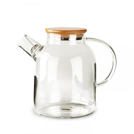 Чайник из жаропрочного стекла с деревянной крышкой 1500 мл