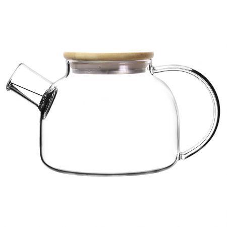 Чайник из жаропрочного стекла с деревянной крышкой 800 мл